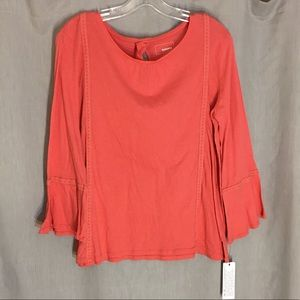 Sonoma Pink Long Bell Sleeve Boho Top Size L